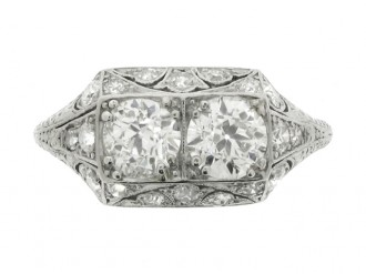 front view Ornate two stone diamond ring, circa 1930.