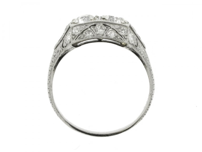 back view Ornate two stone diamond ring, circa 1930.