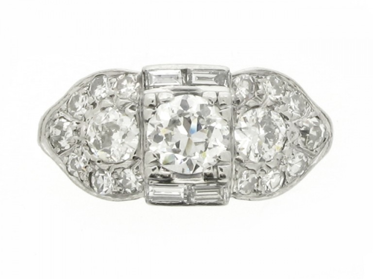 front view Ornate diamond cluster ring, circa 1930.