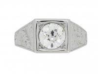 front view Art Deco solitaire diamond ring, circa 1930.