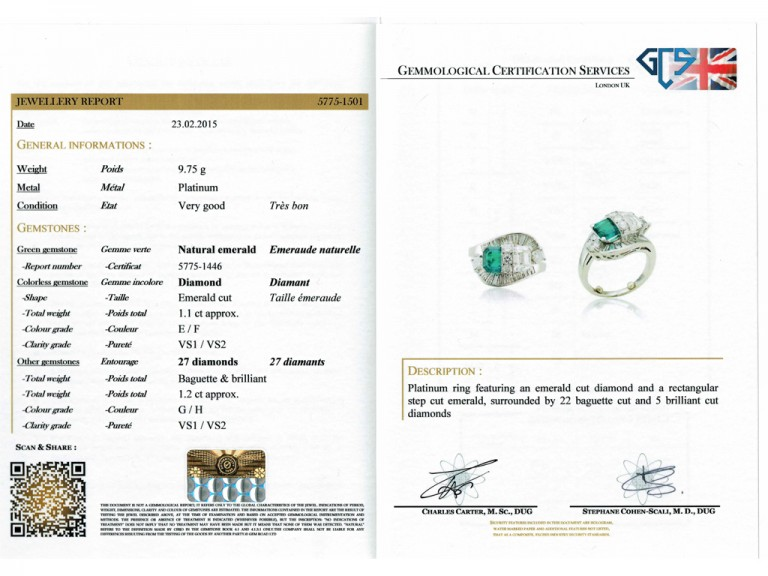 Colombian emerald and diamond crossover ballerina ring