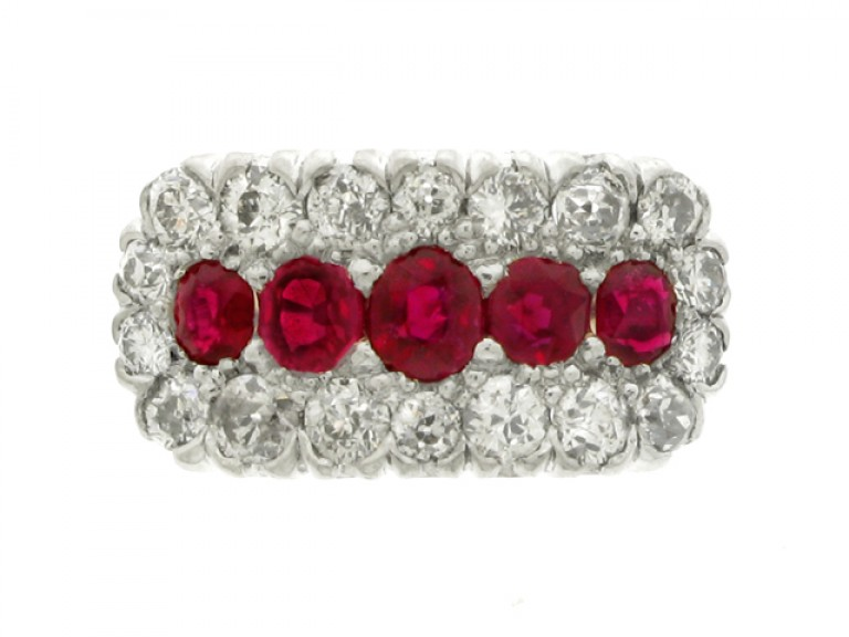 front view Five stone ruby cluster ring, circa 1920.
