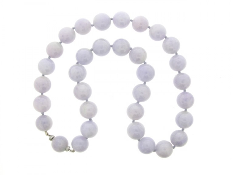 Natural lavender jade bead necklace with diamond set clasp