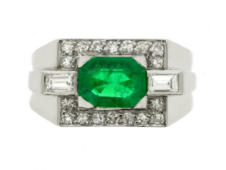 front view Emerald and diamond cocktail ring, French, circa 1940.