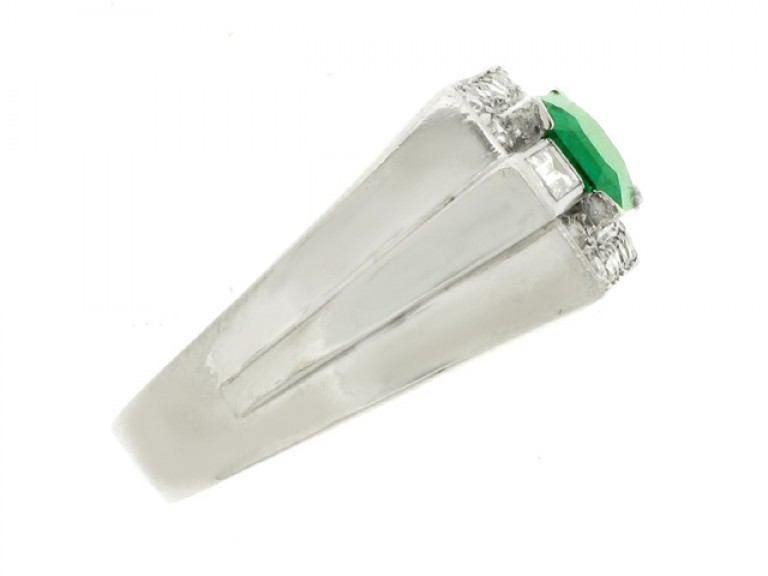 side view Emerald and diamond cocktail ring, French, circa 1940.