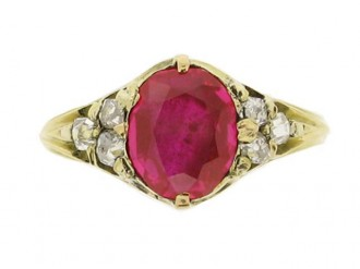 front view Antique ruby and diamond ring, circa 1840.