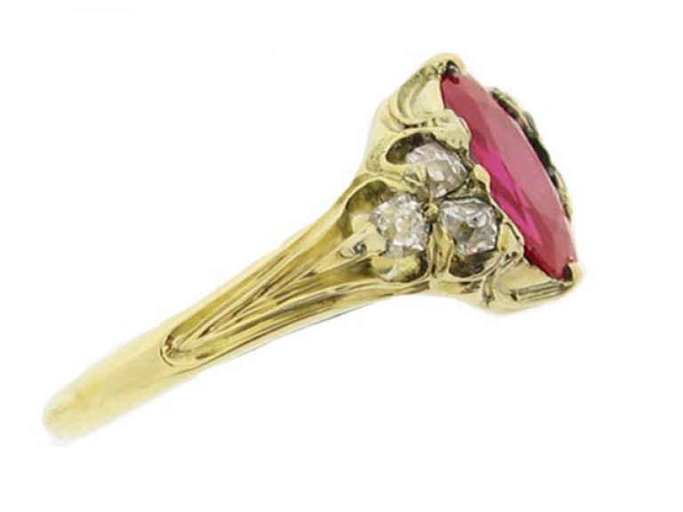 side view Antique ruby and diamond ring, circa 1840.