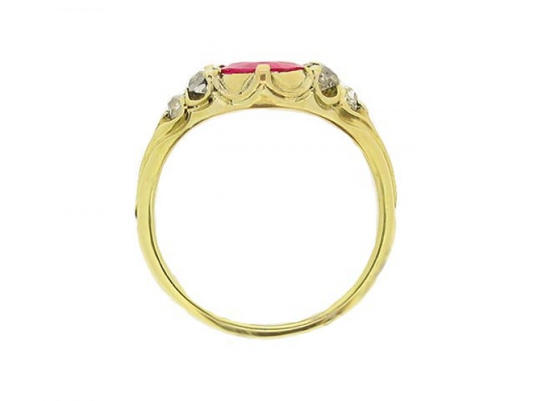 back view Antique ruby and diamond ring, circa 1840.