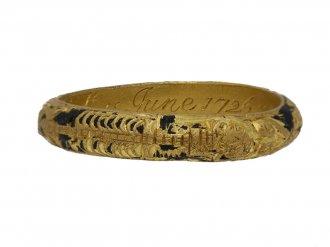 Gold black enamel mourning ring berganza hatton garden