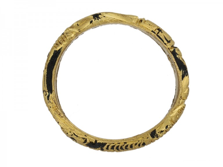 Gold and black enamel mourning ring, circa 1726.