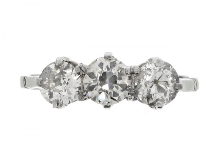 front view Three stone diamond ring, circa 1930.