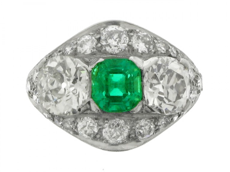 front view Emerald and diamond ring, circa 1920.