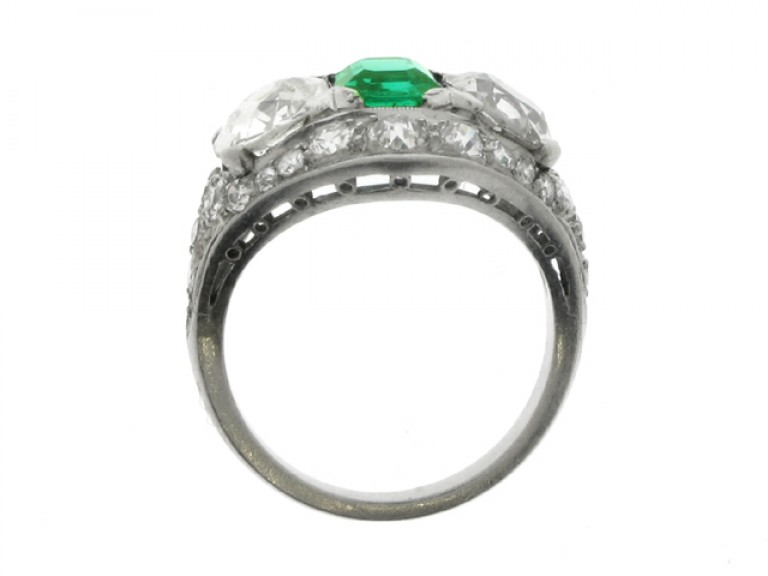 back view Emerald and diamond ring, circa 1920.