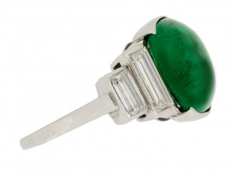 front view Art Deco emerald cabochon and diamond ring, circa 1935.