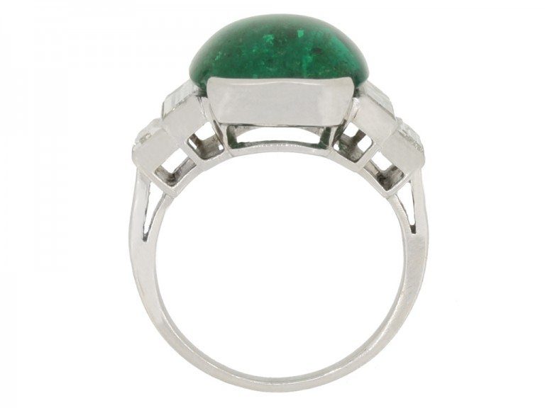 back view Art Deco emerald cabochon and diamond ring, circa 1935.