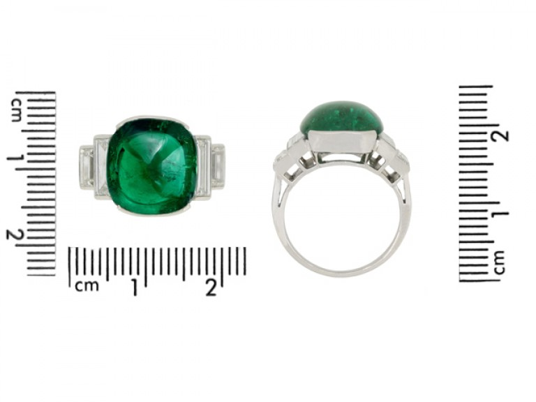 size veiw Art Deco emerald cabochon and diamond ring, circa 1935.