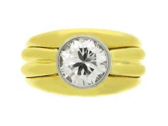 front view Boucheron Paris solitaire diamond ring, circa 1970.