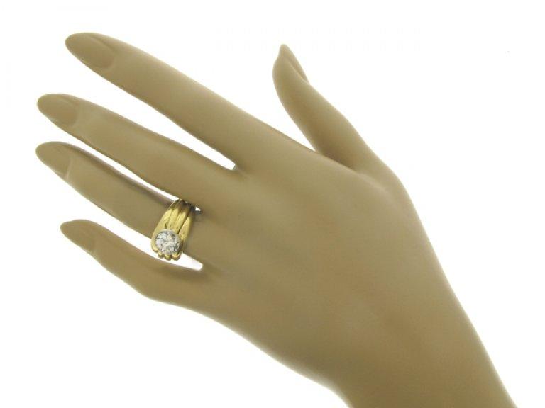 hand view Boucheron Paris solitaire diamond ring, circa 1970.