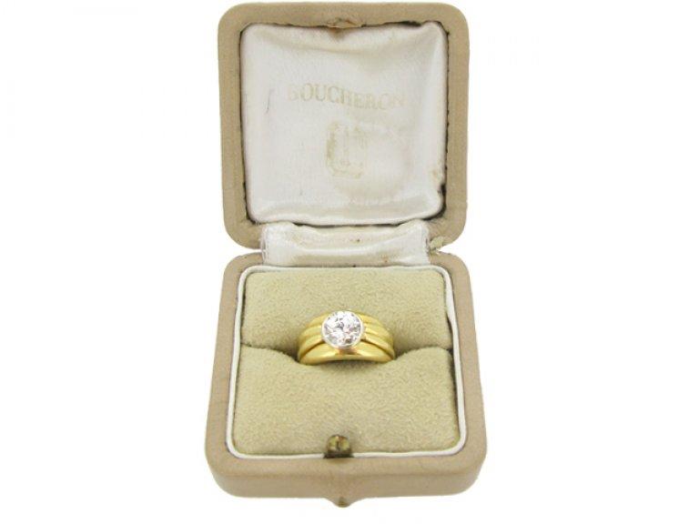 boxed view Boucheron Paris solitaire diamond ring, circa 1970.