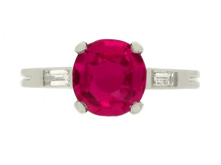 front view Boucheron natural Burmese ruby and diamond ring, French, circa 1935.