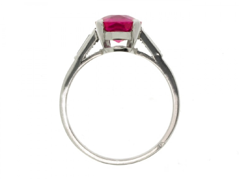 back view Boucheron natural Burmese ruby and diamond ring, French, circa 1935.