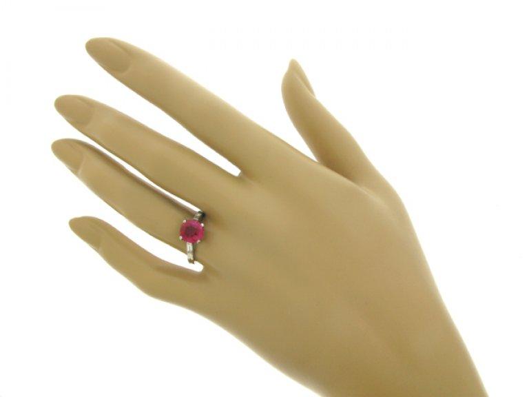 hand view Boucheron natural Burmese ruby and diamond ring, French, circa 1935.