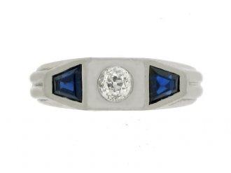 front view Sapphire and diamond three stone ring, circa 1920.