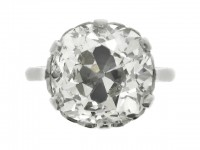 front view Cushion shape solitaire old mine diamond ring, circa 1905.