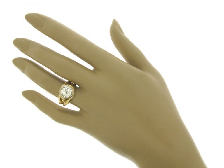 hand view Solitaire cushion shape old mine diamond ring