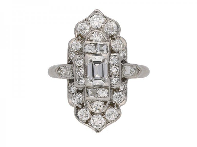 hand art deco diamond cluster ring berganza hatton garden