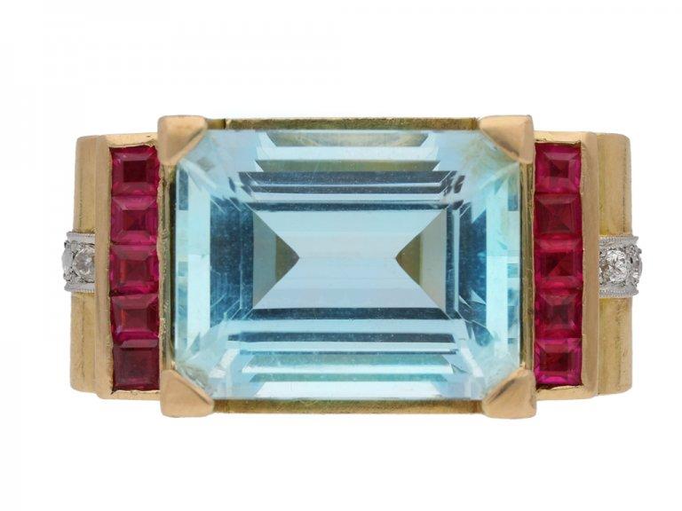 front view antique diamond aquamarine ring berganza hatton garden