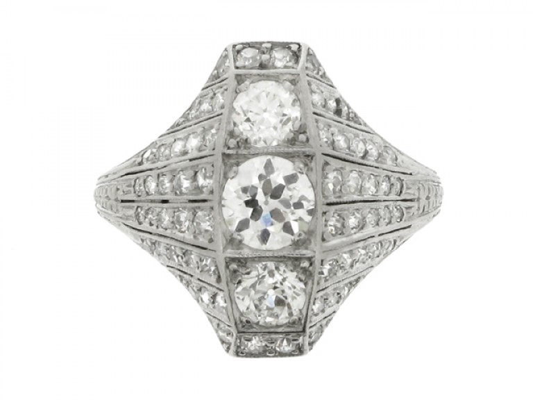 front view Ornate three stone diamond cluster ring, circa 1920.