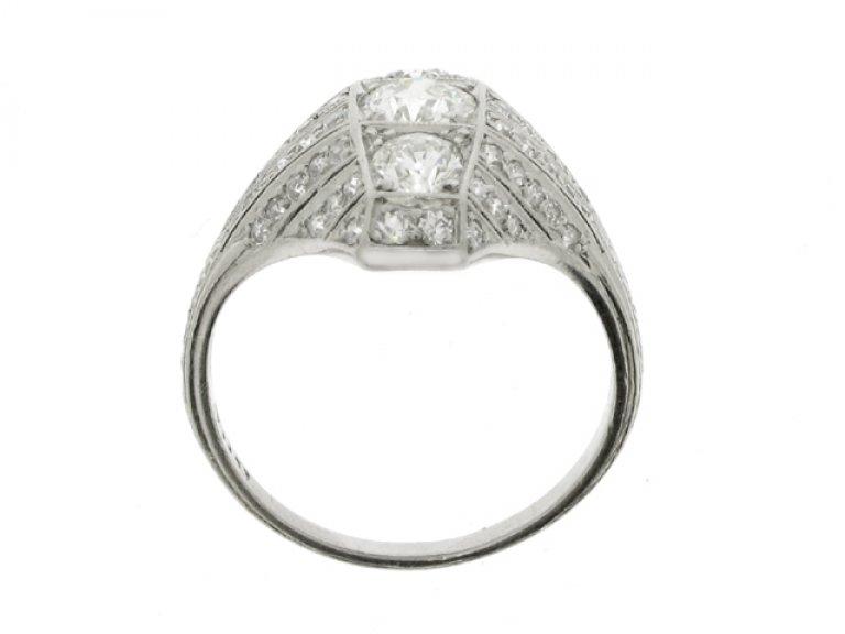 back view Ornate three stone diamond cluster ring, circa 1920.