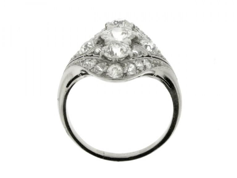 back view Oval diamond cluster ring, circa 1920.