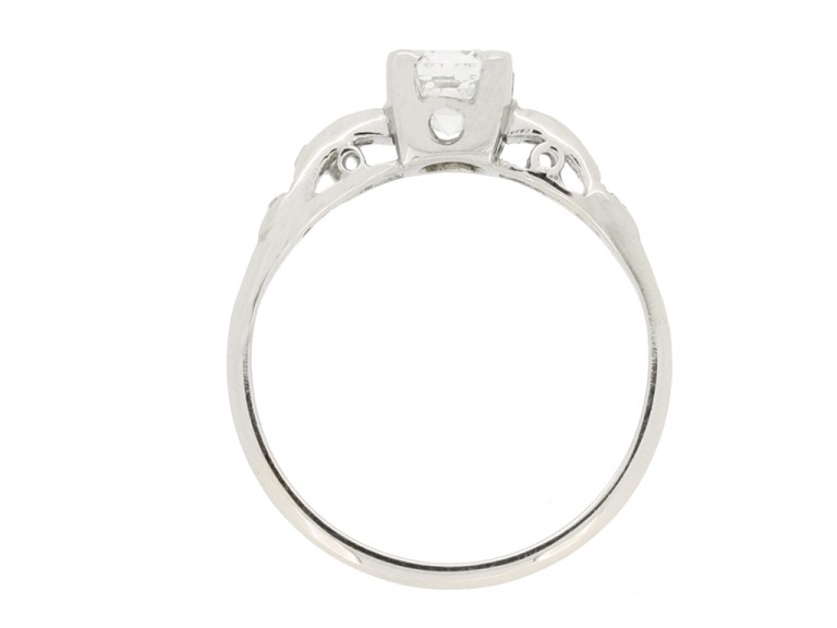 back view Asscher cut diamond engagement ring wth diamond set shoulders