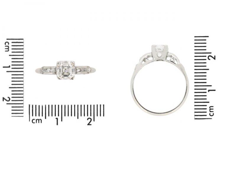 size view Asscher cut diamond engagement ring wth diamond set shoulders