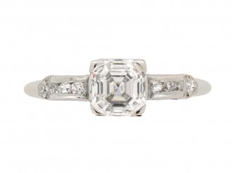 front view Asscher cut diamond engagement ring wth diamond set shoulders