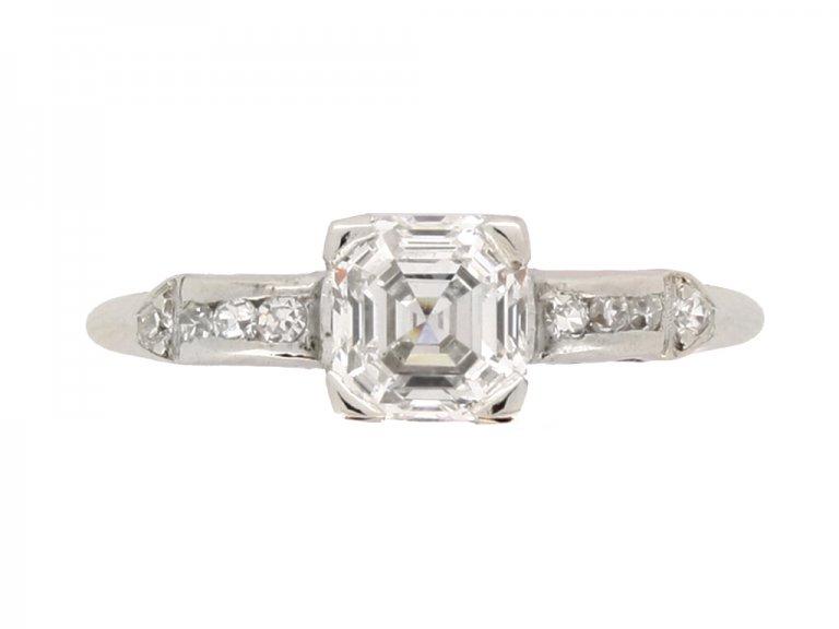 front view Asscher cut diamond engagement ring wth diamond set shoulders