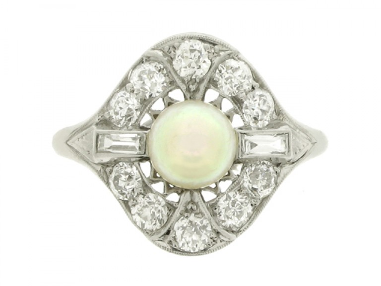 front view Natural pearl and diamond coronet cluster ring, circa 1920.