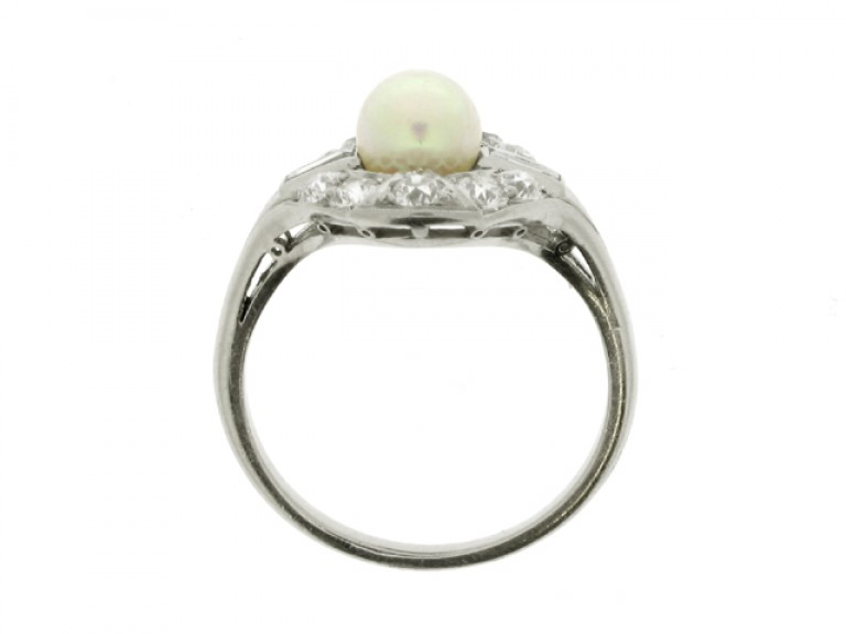back view Natural pearl and diamond coronet cluster ring, circa 1920.