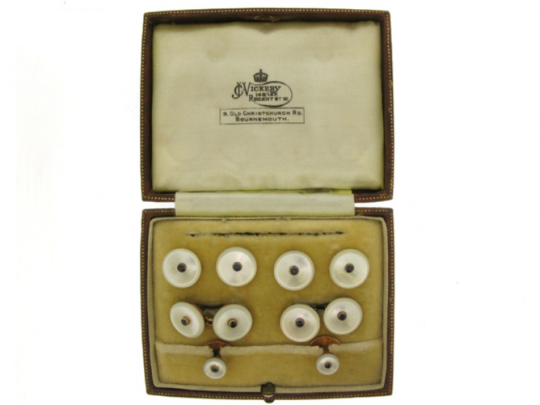 boxed view Antique sapphire and mother of pearl dress set, circa 1900.