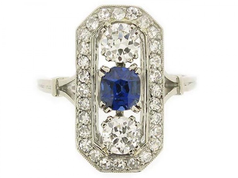 front view Sapphire and diamond ring, circa 1920.