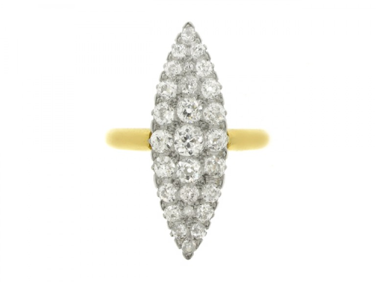 front view Edwardian marquise shaped diamond cluster ring, circa 1905.