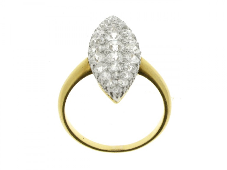 back view Edwardian marquise shaped diamond cluster ring, circa 1905.