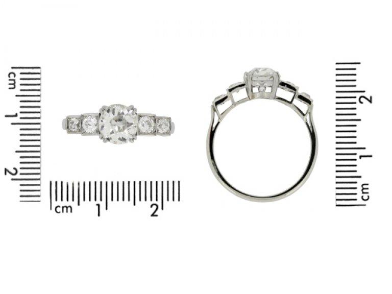 size view Art Deco diamond ring, circa 1930.