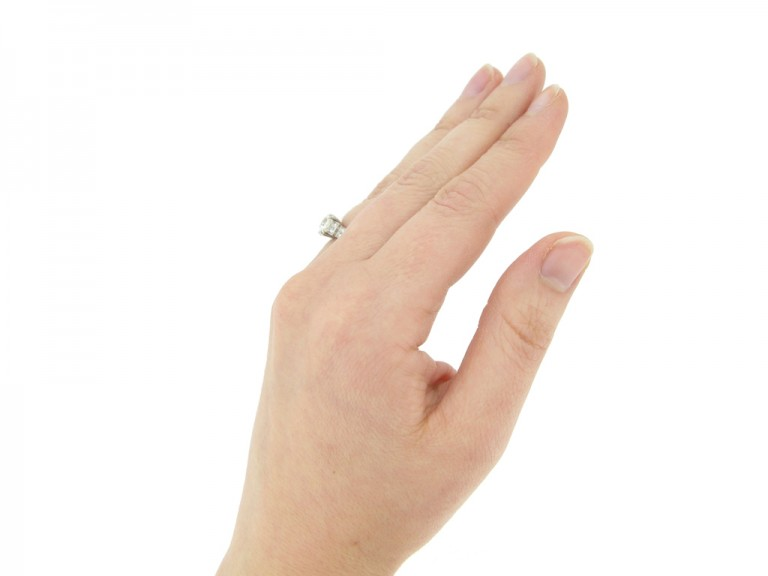 hand view Art Deco diamond ring, circa 1930.