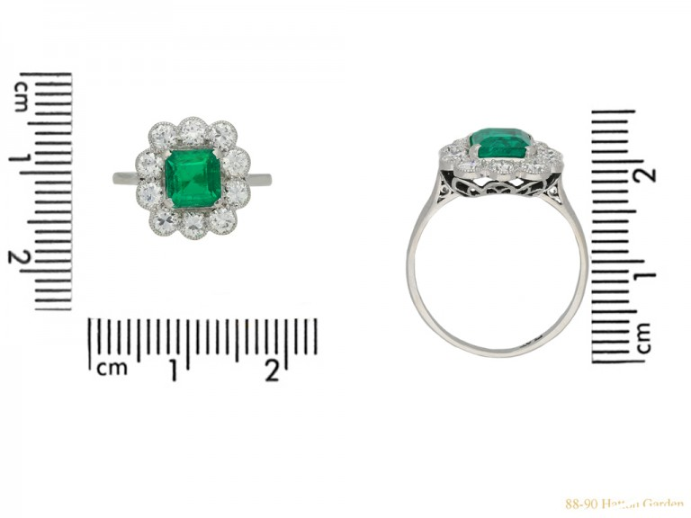 Emerald and diamond coronet cluster ring, berganza hatton garden
