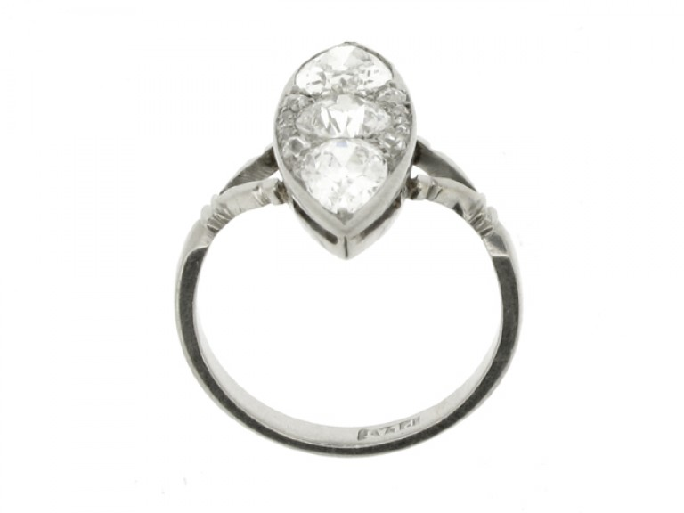 back view Marquise shaped diamond cluster ring, circa 1920.