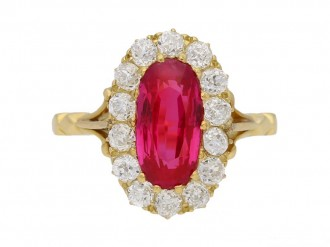 front view  Antique natural Burmese ruby and diamond ring, circa 1900. berganza hatton garden
