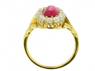 back view  Antique natural Burmese ruby and diamond ring, circa 1900. berganza hatton garden